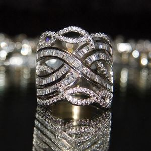18kt gold dipped stunning chanel setting pave ring